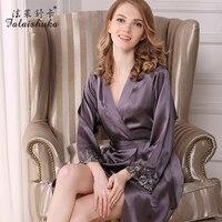 women silk robe and gown sets lace print sexy fashion brand woman night sleepwears sleep&lounge black summer female nightwears