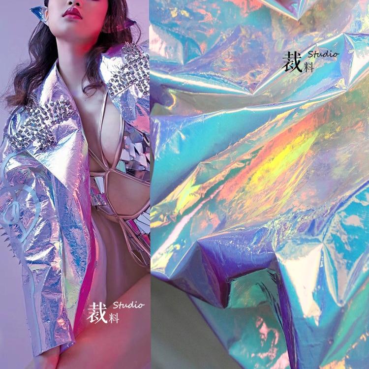 Designer Spiegel kleurrijke TPU laser fluorescerende mode waterdichte kledingstuk doek stoffen voor patchwork kumas telas por metros-in Stof van Huis & Tuin op  Groep 1