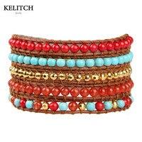 KELITCH Biżuteria Multicolor 5 Wrap Bransoletka z Brown Leather Chain Strand Charm Bransoletki z Worka Karty Pakiet Dostosowane LOGO