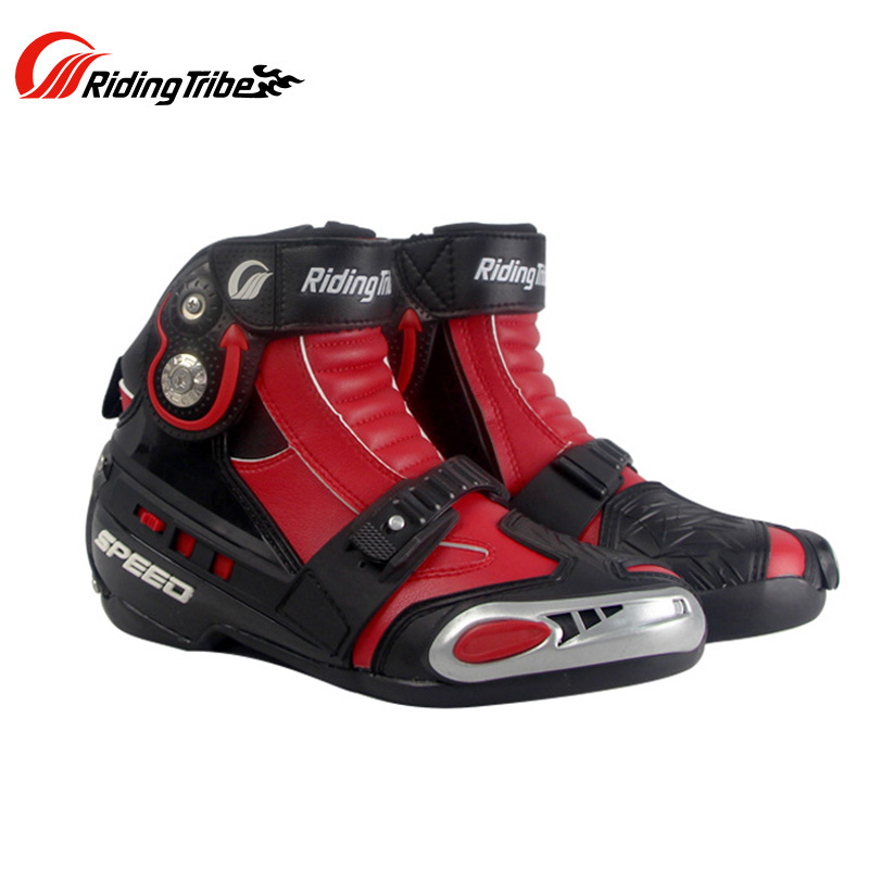Riding Tribe Men Motorcycle Riding Boots Motorbike Racing Leather Waterproof Winterproof Anti skid Wear resistant Shoes