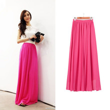 Women Chiffon long skirt Candy Color Pleated Women Skirts 2018 Summer Skirts in floor 100cm length 19Colors long saia