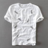 2017 New Linen Japanese Style T Shirt Men Short Sleeve Cotton Men T Shirt Feather Embroidery