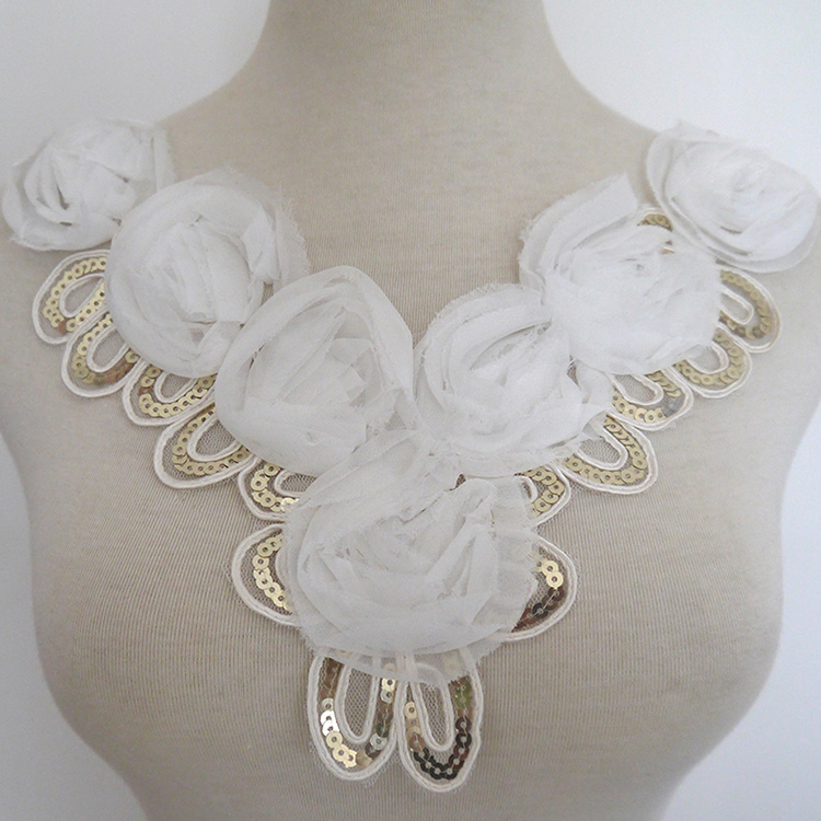 White Rosette Flower Trim Lace with Goled Sequins,Collar Applique for EUROPE DIY Garment Accessories,Neckline Venise Lace Trim