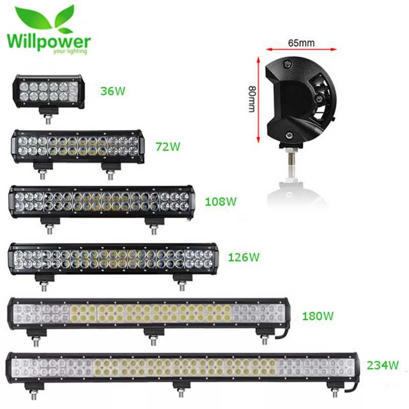 Offroad Led Work Light Bar 36W 72W 108W 126W 180W Spot Flood LED Light Beam For Jeep UAZ 4WD SUV ATV 4x4 Motorcycle