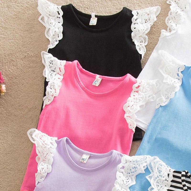 c4911fd47eb2f طفل أطفال طفلة س الرقبة الدانتيل تحلق كم t-shirt أعلى سترة الصيف الملابس  الملابس