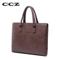 CCZ Mens Fashion HandBag Business Briefcase For Men Male Bag 14 Laptop Computer Bag PU Leather