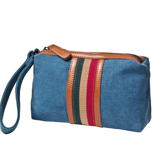 Men Women Korean Fashion Canvas Vintage Wrist Bag Travel Cell Mobile Phone Belt Pouch Purse Pack