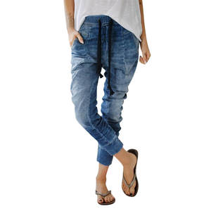 Harem Jeans Women Clothes Drawstring Distress High-Waist Baggy Denim Trousers Plus-Size