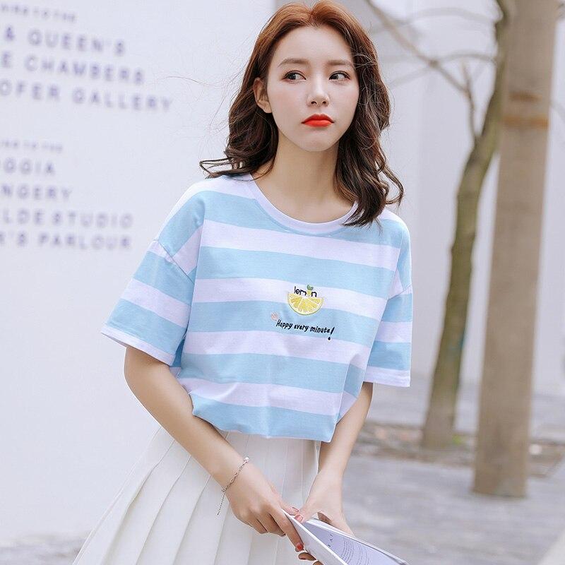 Fashion Striped Summer Women T-shirt New Styel Embroidery O-Neck Short Sleeve Casual Women's T Shirt Top