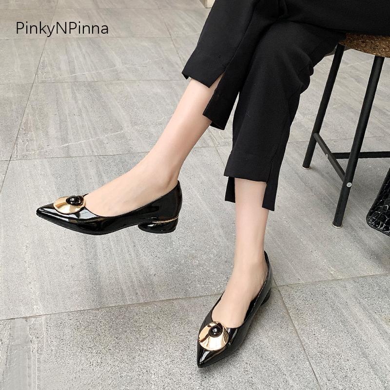 Fashion women low heels pumps golden metallic tablet embellished shining patent leather party summer office shoes plus size 43 in Women 39 s Pumps from Shoes