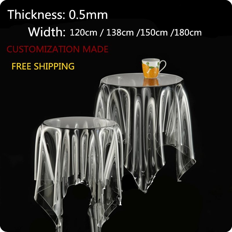 SM 0 5mm 120 60cm Customization made soft glass transparent clear waterproof PVC tablecloths covers free
