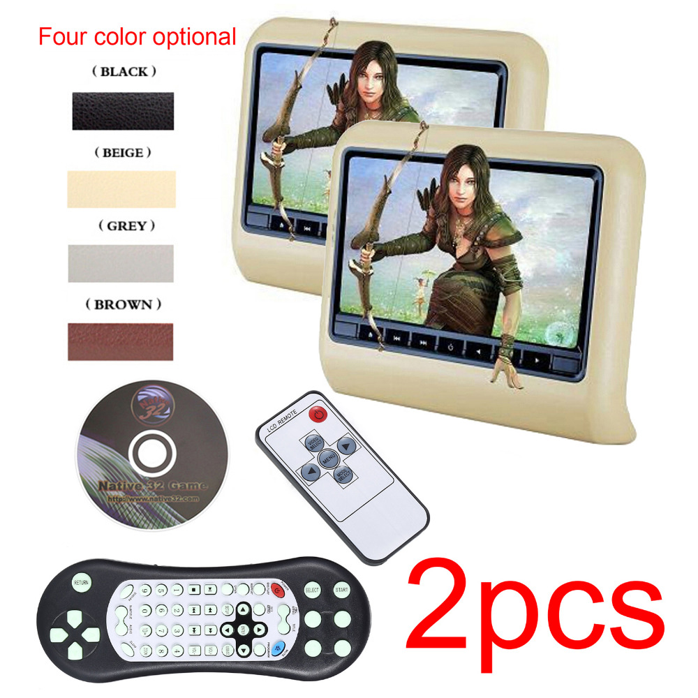 2pcs 9 Inch HD Monitor Car Headrest DVD Player Automotivo Multimedia Entertainment System with slot in DVD, IR,FM,USB,SD, Wirele 9 inch car headrest mount dvd player digital support external multimedia and mobile audio video usb sd fm speaker remote control