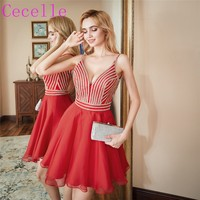 2019 New Latest Red Short Juniors Homecoming Dresses With Straps Deep V Neck and back A line Homecoming Dress Ready to Ship