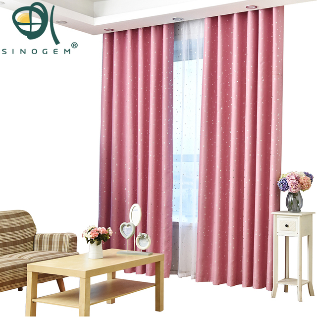 Sinogem Stars Curtains For Living Room Pink Fabric Curtain Kids ...