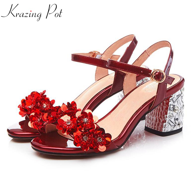 Krazing Pot 2018 genuine leather buckle strap flowers round peep toe square crystal high heel women