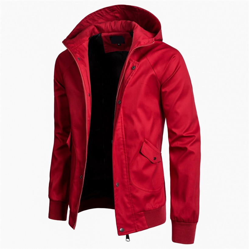 2019 New Red Classic Mens Jackets Spring Summer Hooded Cotton Jacket Men Casual Coats Size 3XL