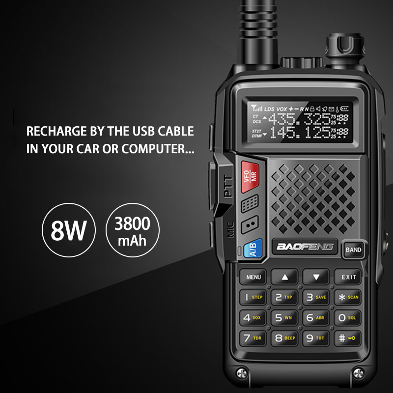 BAOFENG 2019 BF-UVB3 PLUS 8 W Haute Puissance UHF/VHF Double Bande 10 KM Gamme Thickenbattery Talkie Walkie Multiples mode de charge