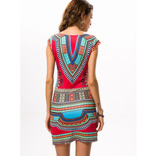 2017 Sexy Women Summer African Print V-Neck Dress
