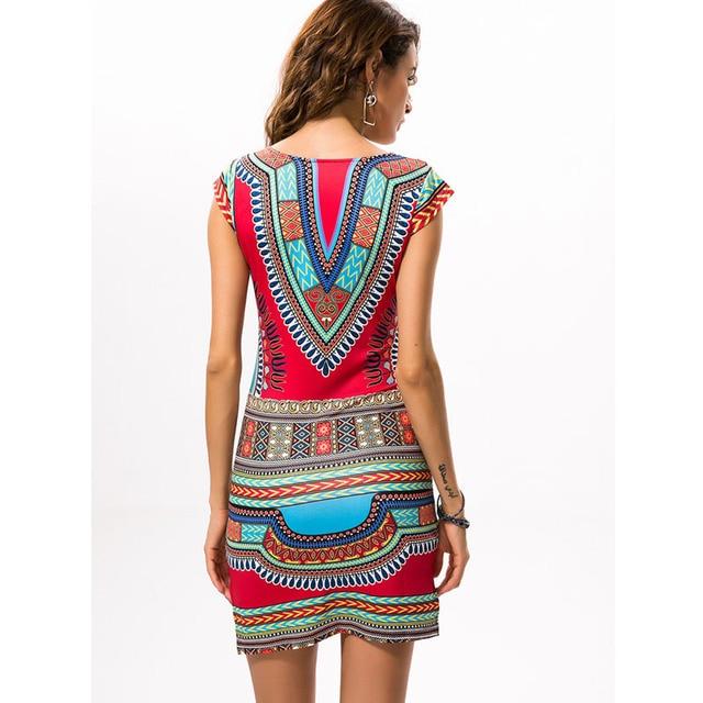 2017 Sexy Women Summer African Print V-Neck Dress