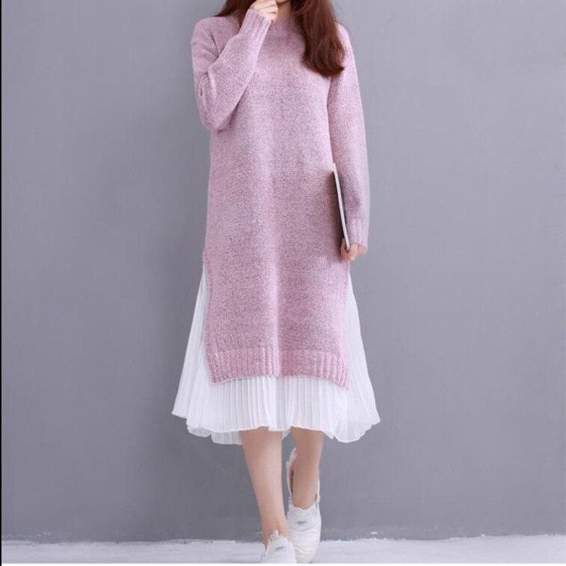 Mori Girl Winter Autumn Women Dress Round Neck Knitted Chiffon Patchwork Sweater Dress Casual Elegant Long Sleeve Sweet Dresses