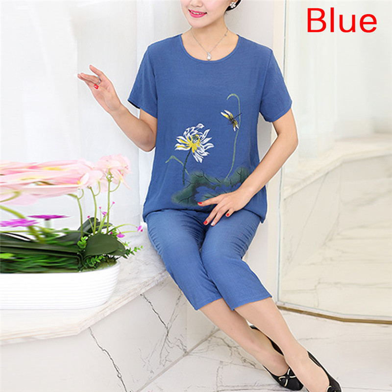 Floral Print Female Pajamas Set Sleepwear Chinese Women Cotton Linen Pyjamas Suit Flower Nightwear 4XL