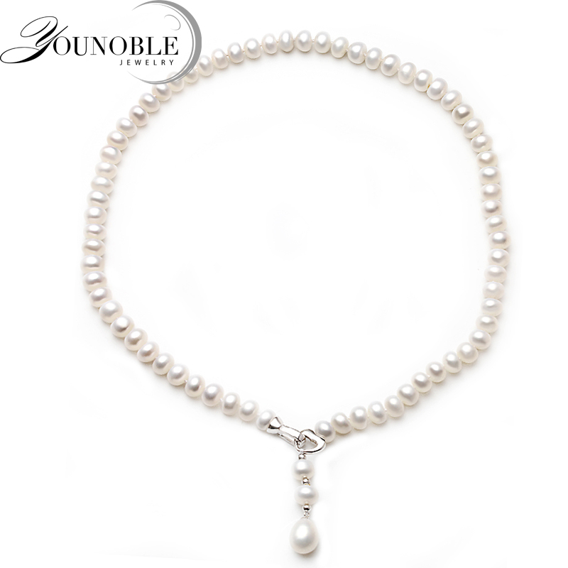 YouNoble 500mm Mother Long Pearl Necklace,Natural Freshwater Pearl Pendant Necklace 925 Sterling Silver Jewelry For Women White real freshwater long pearl necklace for women natural pearl pendant necklace 925 silver jewelry wedding best gift box white