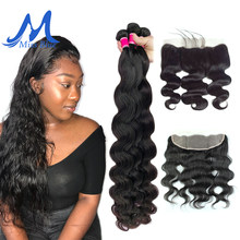 Missblue Virgin Brazilian Body Wave Human Hair Bundles With Closure 32 36 38 40 inch 3 Bundle With 13x4 Transparent Lace Frontal(China)
