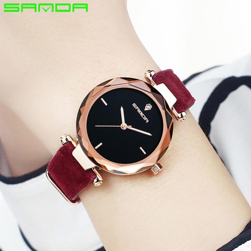 SANDA Luxury Leather Band Ladies Quartz Watch Women Fashion Simple Style Watches Rose Golden Female Relogio Masculino