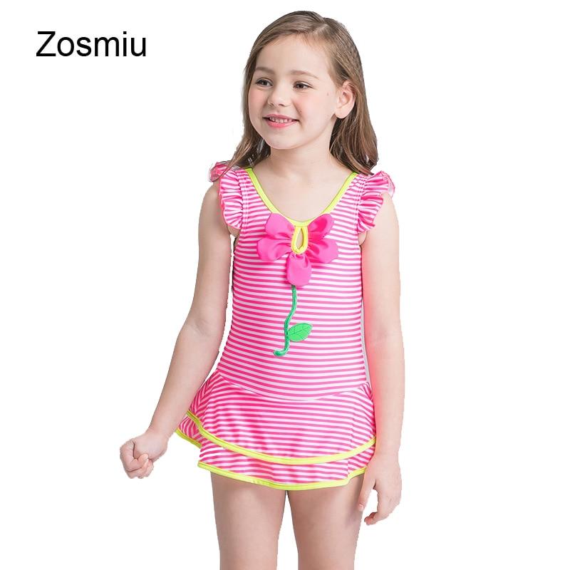 Girls Flower One-piece Striped Swimsuit Swimwear Kids Skirted Beach Bathing Suit