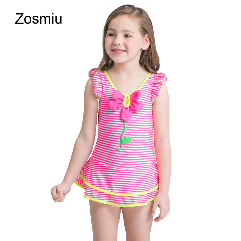 Zosmiu New Kids White & Pink Striped One Piece Swimsuit Girls Flower Ruffle Swimwear Children Beachwear Bathing Suit With Skirt