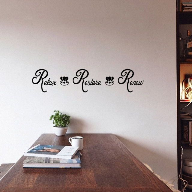 Large Size Relax Restore Renew Spa Bathroom Vinyl Wall Quote Decal Stickers  Lettering Washroom Decor