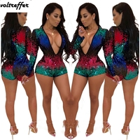 2018 Fall Colorful Sequins Beaded Bodycon Bodysuit Women Deep V Neck Back Zip Glitter Bandage Jumpsuit Bike Shorts Sexy Sparkly