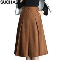 SUCH AS SU New 2017 Women Black Brown Button High Waist Pleated Skirt Autumn Winter S 3XL Size Female Mid Long Skirt