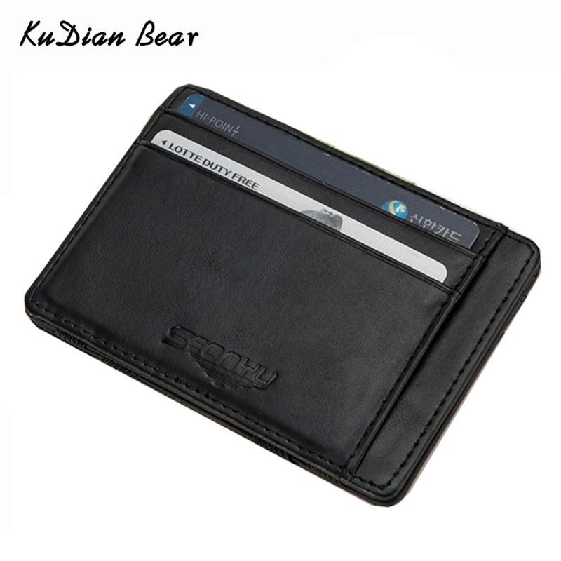KUDIAN BEAR шкіряні гаманці чоловіки чарівні гаманці дизайнер малого гаманця Rfid картки власника Carteira Masculina--