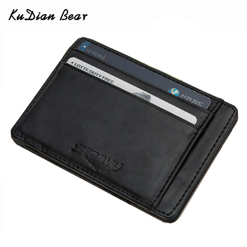 KUDIAN BEAR Leather Wallets Men Magic Wallets Designer Small Purse Rfid Card Holder Carteira Masculina-- BID142 PM15