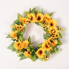Warm style Artificial Flower Wreath Garland With Yellow Sunflower And Green Leaves Front Door Window Wedding Decorations