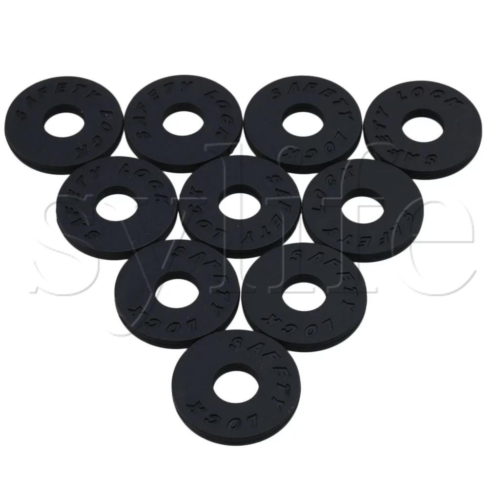 10 Pcs Silica Gel Guitar Protector Strap Lock Block 25x3mm 9mm ID Black