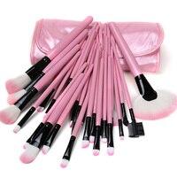 New Professional 32 Pcs Eyebrow Lip Eyeshadow Blusher Makeup Brushes Set Cosmetic Pink Case H7JP