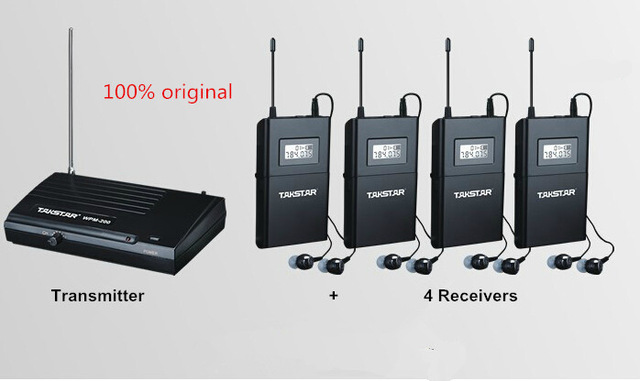 TAKSTAR UHF Wireless In Ear Stage Monitor System In Ear Stage Wireless Monitor System 4 Receiver + 1 Transmitter WPM-200 wireless pager system 433 92mhz wireless restaurant table buzzer with monitor and watch receiver 3 display 42 call button
