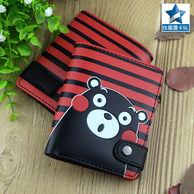 Striped PU Zero Wallet/Japanese Mascot Kumamon Coin Purse with Interior Zipper Pocket american super hero batman pu short zero wallet coin purse with interior zipper pocket