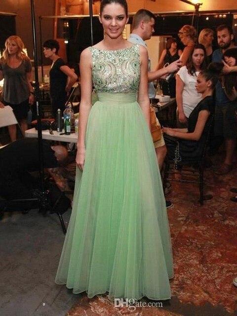 Вдохновленный Кендалл Дженнер A Line With Sexy Jewel Бисером Scoop Знаменитости Платья Вечернее Платье Известный Красном Ковре Платья