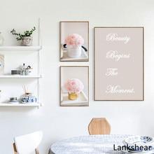 Scandinavian Motivational Quote Minimalism Wall Art Canvas Poster Pink Flower Picture Print Modern Home Decoration Metal