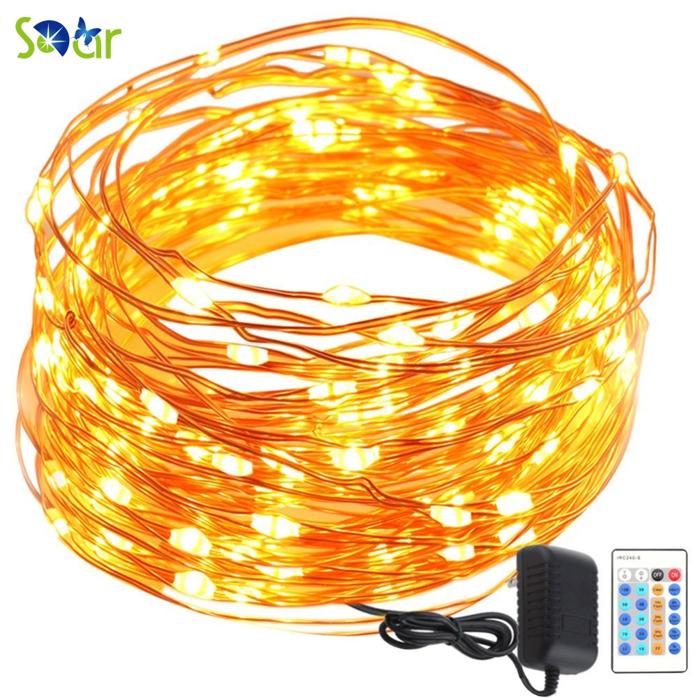 Tiny Copper String Lights : Remote Control 33FT 100 LEDs Tiny Copper Wire String Fairy Lights Lamp with Plug 100 240Vac ...