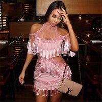 2018 Moda Nova Boutique Celebrity Fantazyjne Dziewczyna Sexy Off the Shoulder Bodycon Pomponem Mini Halter Różowy Zimno Ramię Sukienka