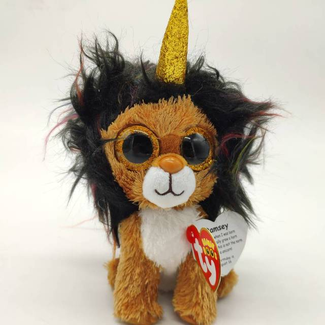 a660d0aa5dc 15cm ramsey lion with horn with tag and label TY BEANIE BOOS 15CM 6
