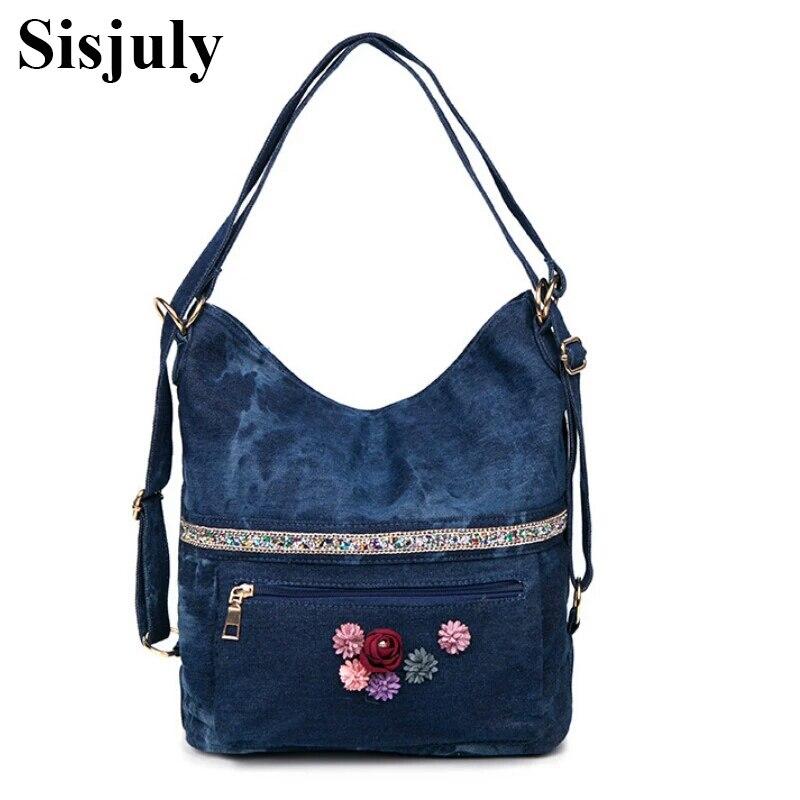 Sisjuly весной и летом 2018 Новый стиль деним с Diamond Flower Повседневные джинсы одного плеча косые оседлать сумка Лидер продаж
