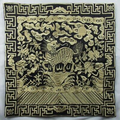 Полная вышивка Кирин чехлы для диванов китайские декоративные подушки высокого класса винтажные этнические рождественские наволочки 45x45 - Цвет: black with gold