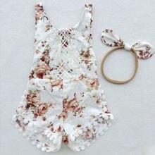 Newborn Kid Baby Girl Floral Clothes Jumpsuit Bodysuit Sunsuit Outfit Set