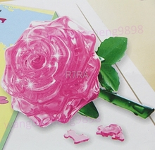 HOT 3D Crystal Puzzle IQ font b Toy b font Furnish Gift Jigsaw Model DIY Rose