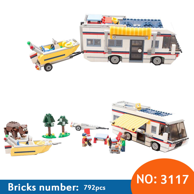 DECOOL 2018 3117 Vacation Getaways Camper Summer home Architect 3 in 1 Building Block Set 2 Mini Dolls Kids model Toys 31052 decool 3118 city 285pcs architect changed 3 in 1 space shuttle explorer building block diy toys educational kids gifts